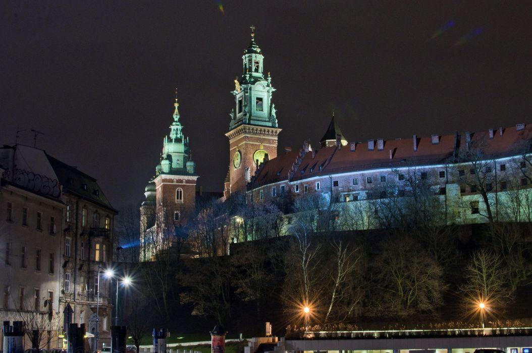 Poland Castles Houses Night Street lights Krakow Wawel Castle Cities wallpaper