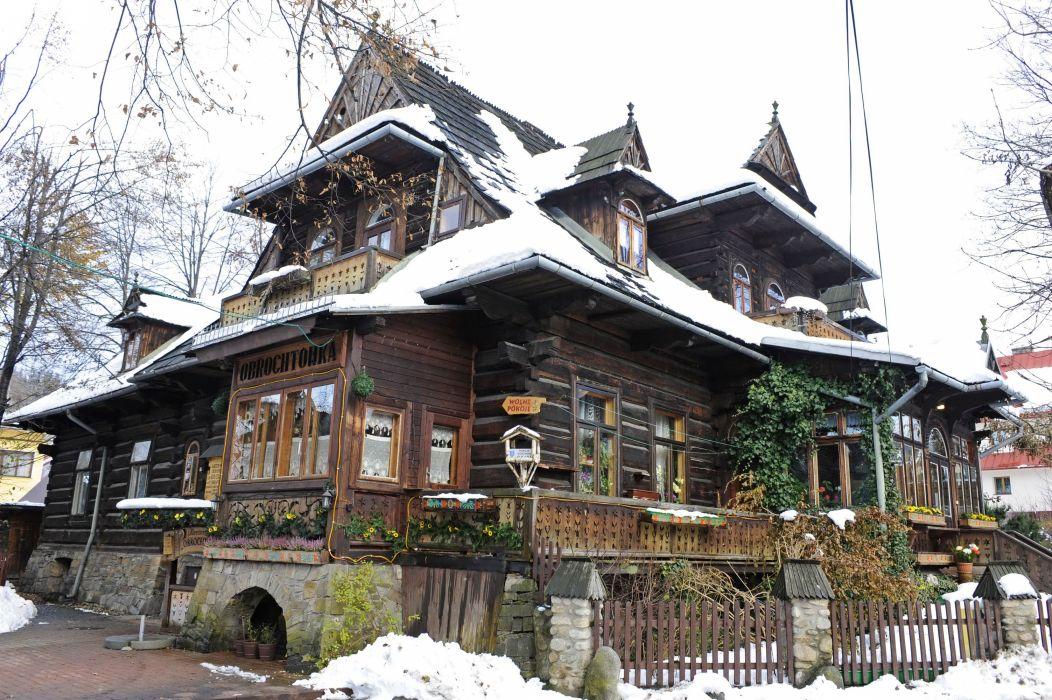 Poland Houses Design Wooden Zakopane Cities wallpaper