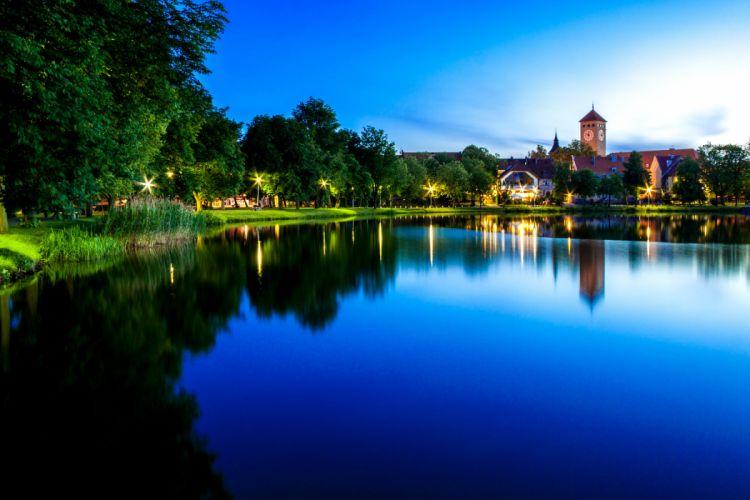 Poland Houses Lake Coast Night Street lights Szczytno Cities wallpaper