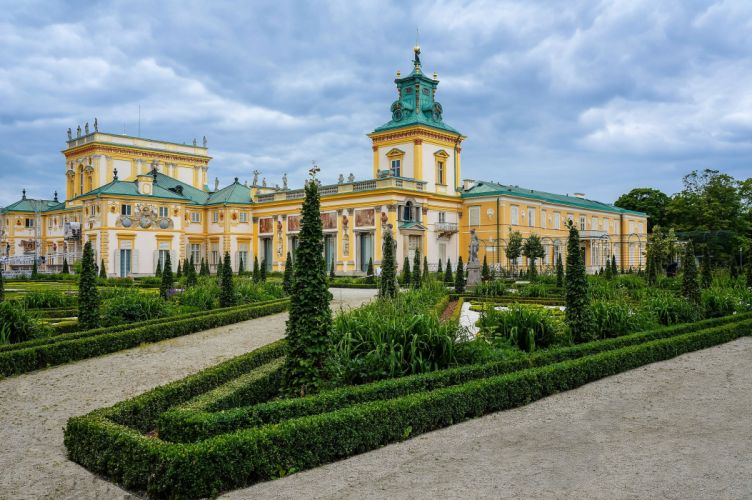 Poland Landscape Palace Shrubs Warsaw Wilanow Palace Cities wallpaper