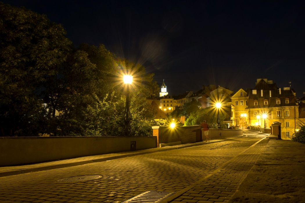 Poland Houses Roads Night Street lights Street Lublin Cities wallpaper
