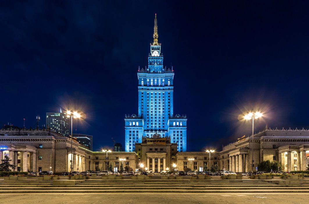 Poland Palace Night Street lights Warsaw Palace Kultury i Nauki Cities wallpaper
