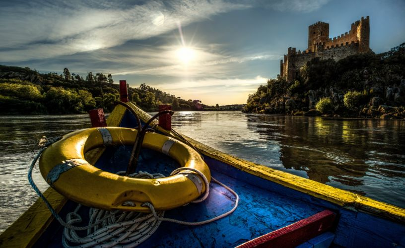 Portugal Castles Rivers Boats Coast Castle of Almourol Tagus River Cities wallpaper