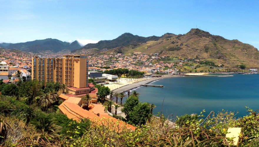 Portugal Coast Houses Mountains Funchal Madeira island Cities wallpaper