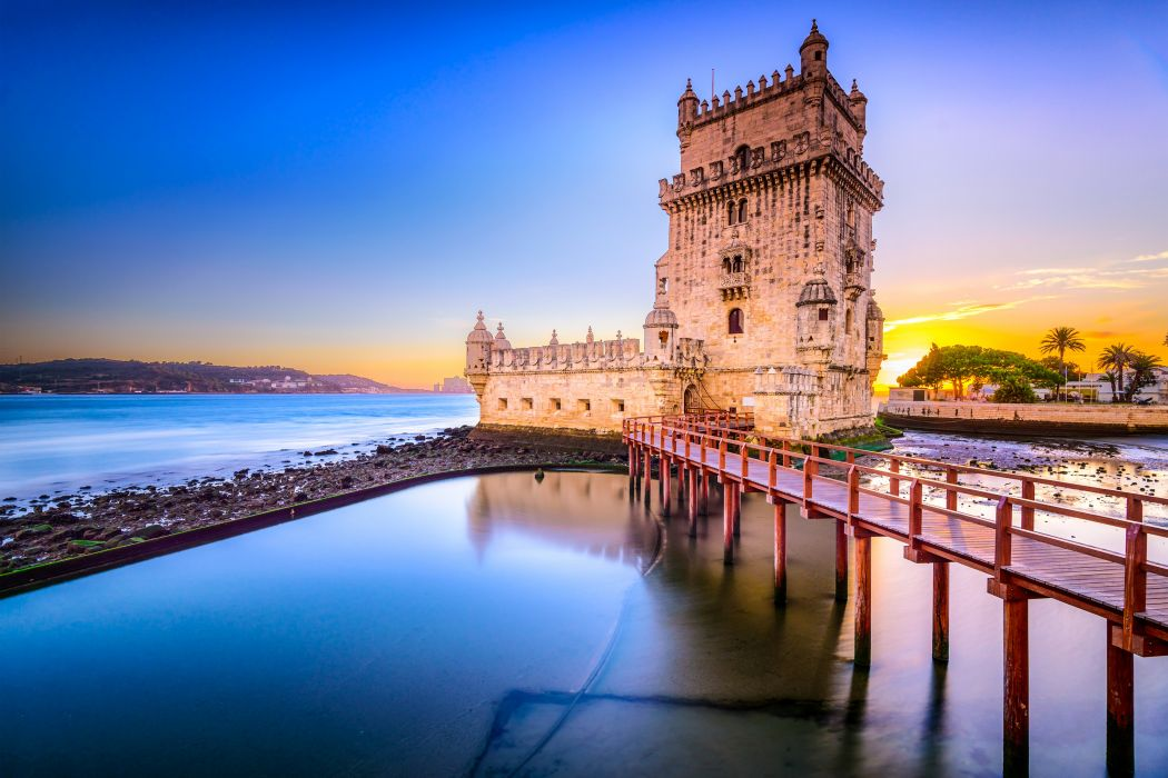 Portugal Coast Fortress Belem Tower Lisbon Cities wallpaper