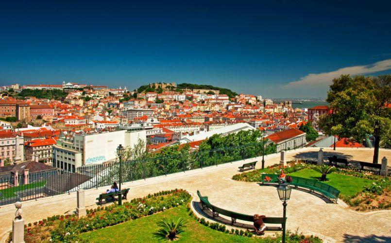 Portugal Houses Parks Bench Street lights Lisbon Cities wallpaper