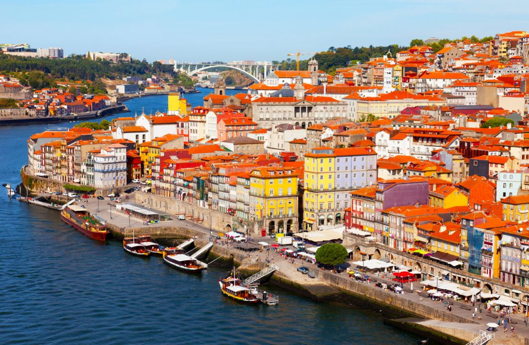 Portugal Houses Rivers Bridges Marinas Ships Porto Cities wallpaper