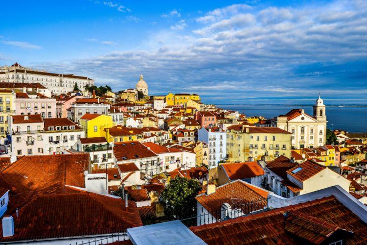 Portugal Houses Sky Prazeres Lisbon Cities wallpaper