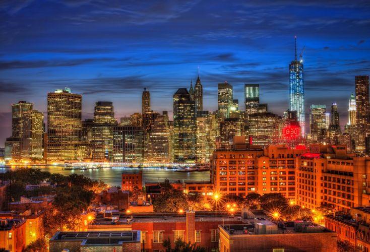Houses USA Night New York City Manhattan One World Trade Center 1WTC OWTC Cities wallpaper