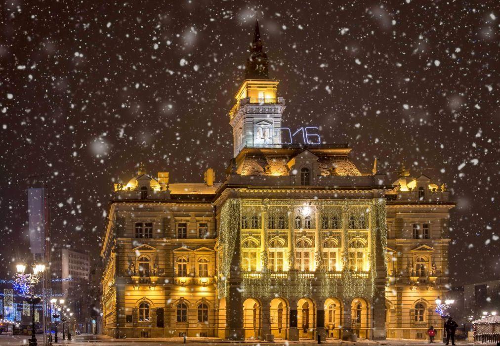 Houses Winter Serbia Night Snowflakes Street lights Novi Sad Cities wallpaper