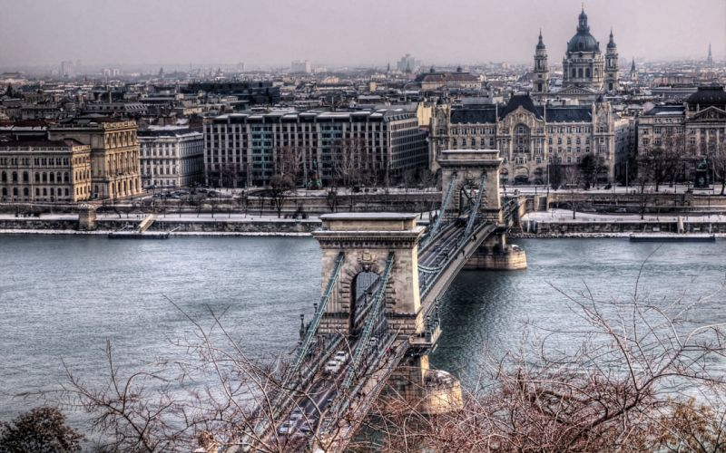 Hungary Bridges Houses Budapest Chain Bridge Cities wallpaper