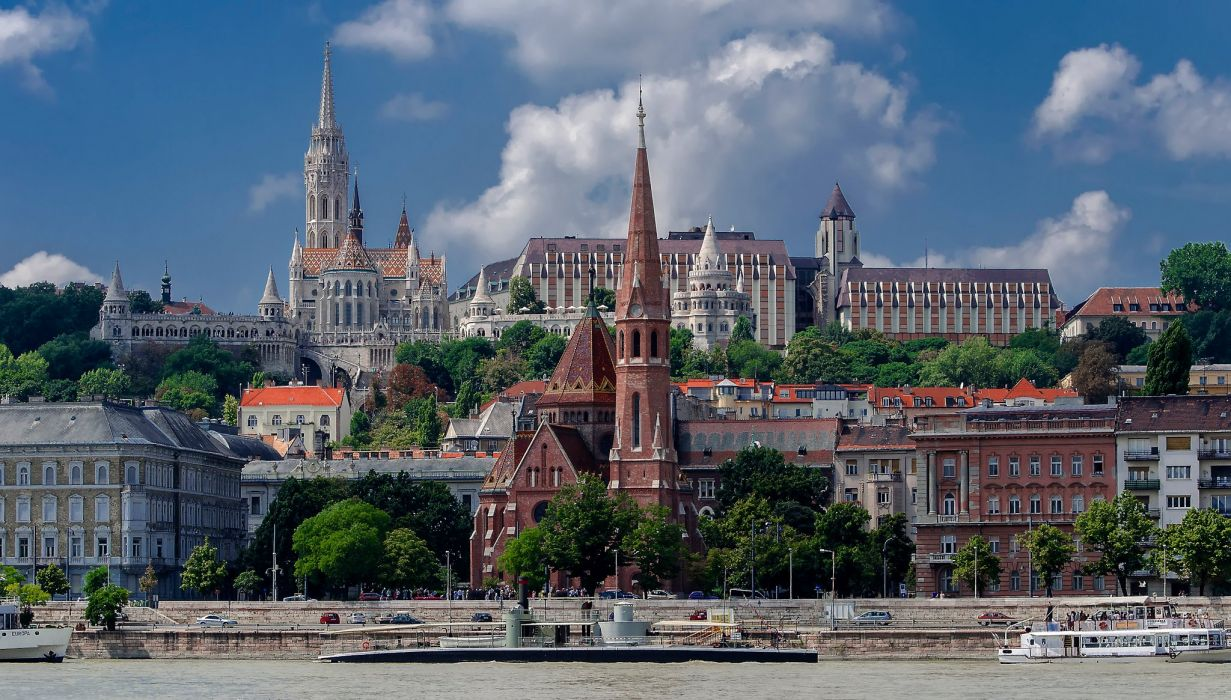 Hungary Budapest Rivers Temples Houses Cities wallpaper