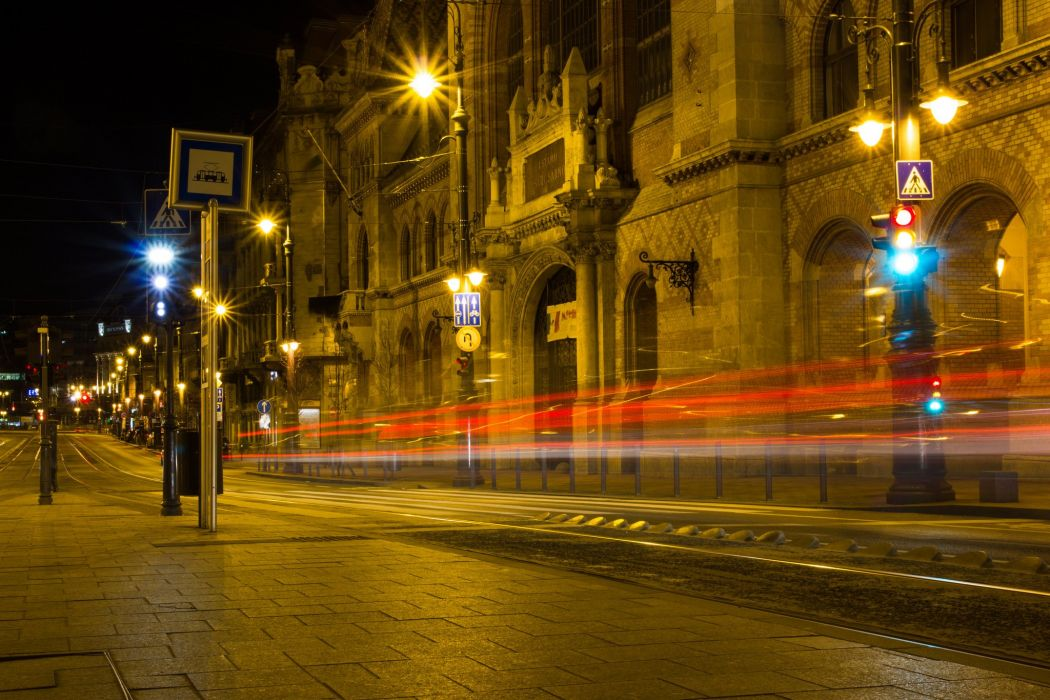 Hungary Houses Budapest Street Motion Night Cities wallpaper