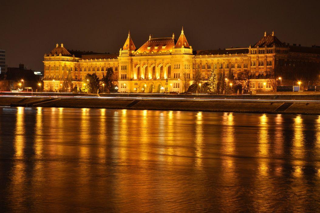 Hungary Rivers Budapest Palace Night Cities wallpaper