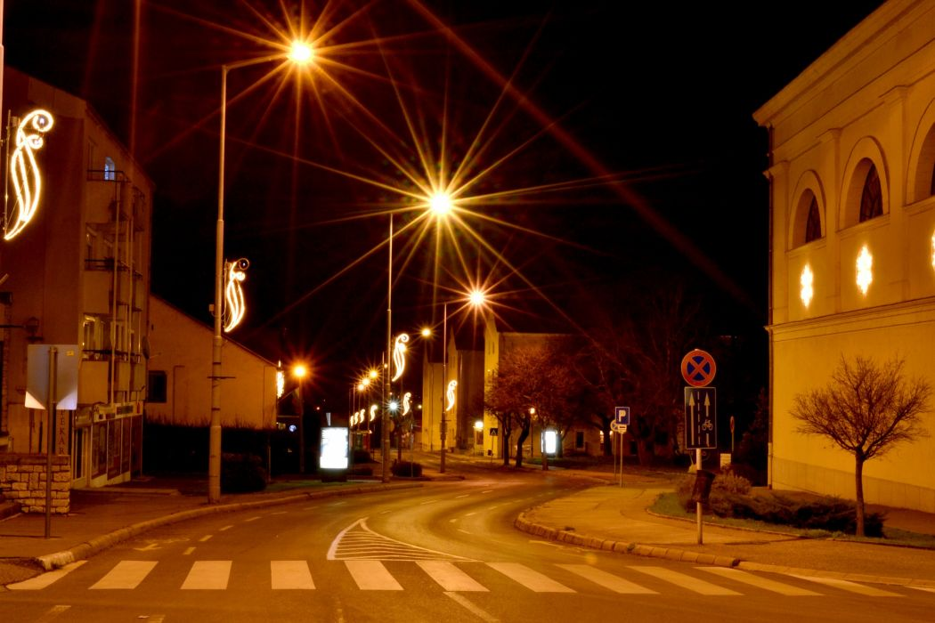 Hungary Houses Roads Street Night Street lights Varpalota Cities wallpaper