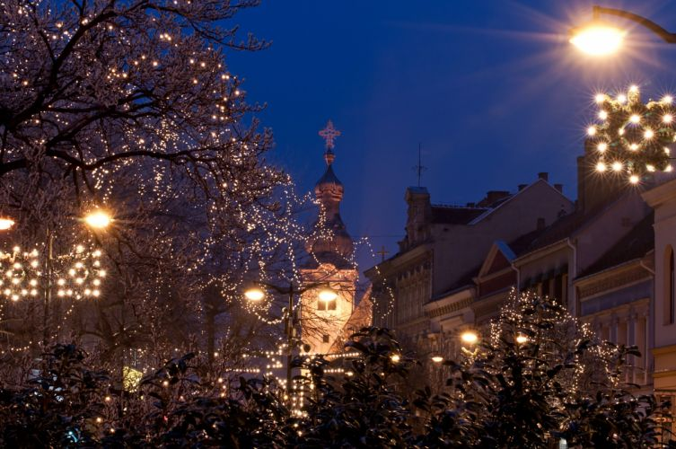 Hungary Holidays Houses Fairy lights Night Street lights Szombathely Cities wallpaper