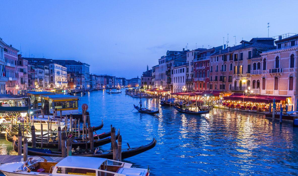 Italy Boats Marinas Houses Venice Canal Cities wallpaper