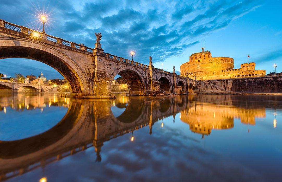 Italy Bridges Rivers Rome Cities wallpaper