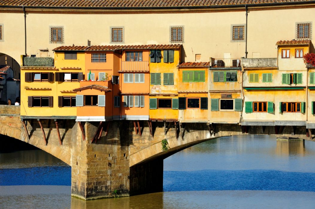 Italy Bridges Rivers Houses Florence Cities wallpaper