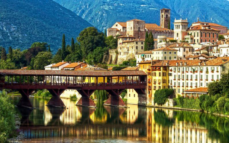 Italy Bridges Houses Alps Bassano del Grappa Ponte degli Alpini Alpini's bridge Brenta River Veneto Cities wallpaper