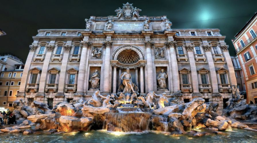 Italy Fountains Houses Rome Cities wallpaper