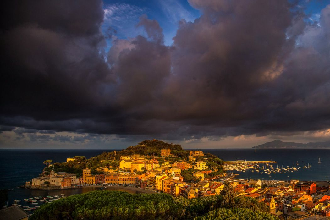 Italy Houses Marinas Clouds Thundercloud Sestri Levante Cities wallpaper