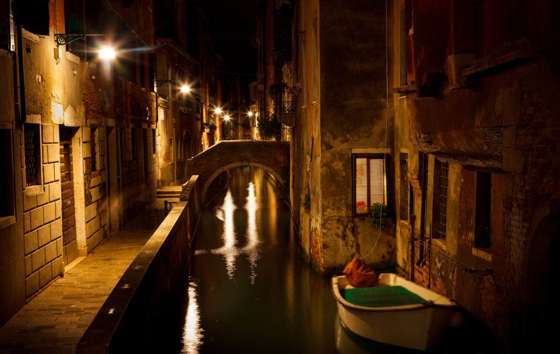 Italy Houses Boats Venice Canal Night Street lights Cities wallpaper