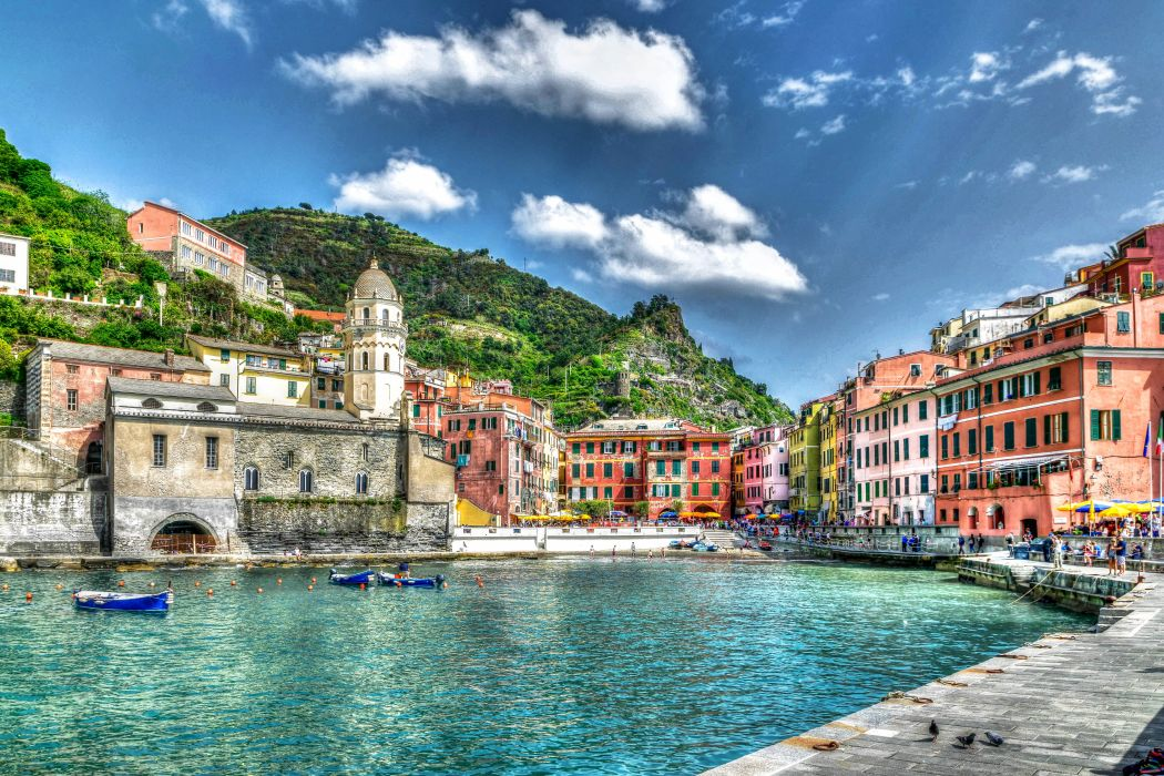 Italy Houses Boats HDR Clouds Manarola Hafen Cities wallpaper