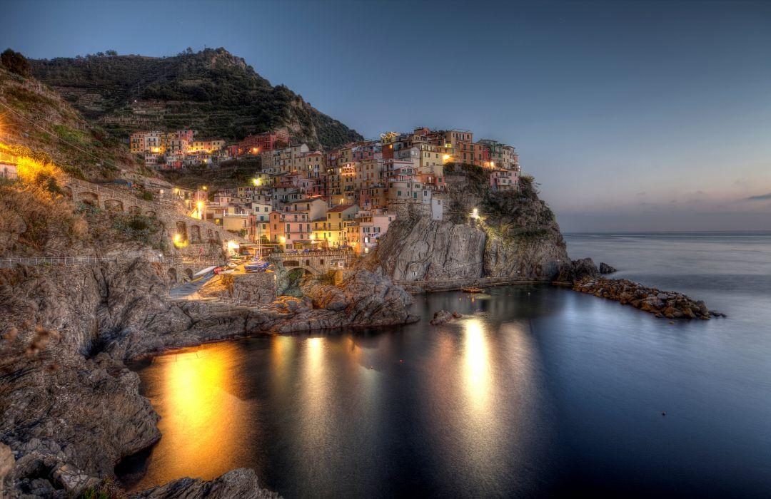 Italy Houses Coast Crag Night Manarola Liguria Cities wallpaper