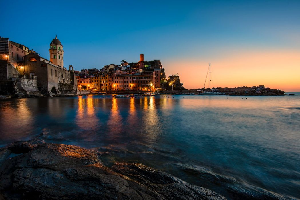 Italy Houses Sea Night Street lights Vernazza Cities wallpaper