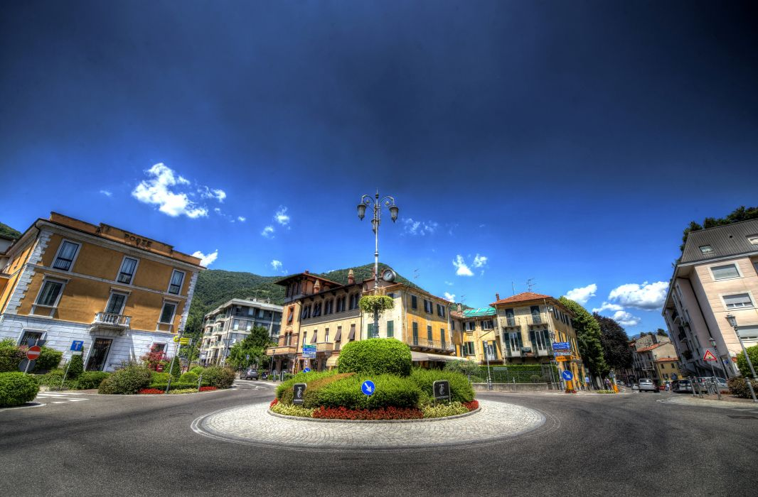 Italy Houses Sky Street Street lights Shrubs HDR Cernobbio Cities wallpaper