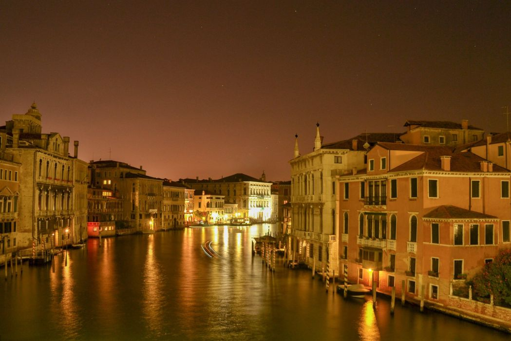 Italy Houses Venice Canal Night Cities wallpaper