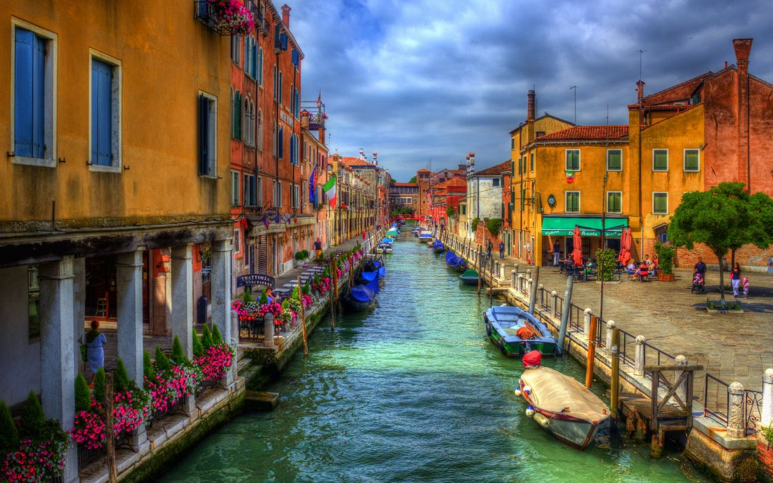 Italy Houses Venice Canal Street HDR Cities wallpaper