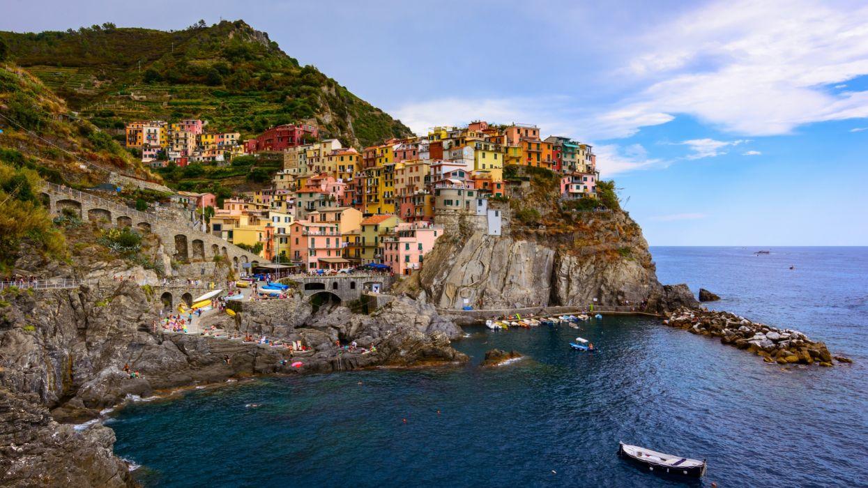 Italy Sea Coast Houses Crag Manarola Cinque Terre Ligurian Sea Cities wallpaper