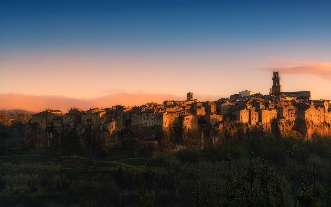 Italy Sky Houses pitigliano Cities wallpaper