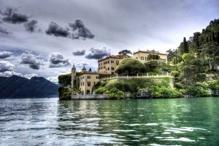 Italy Lake Houses HDR Clouds Lenno Cities wallpaper
