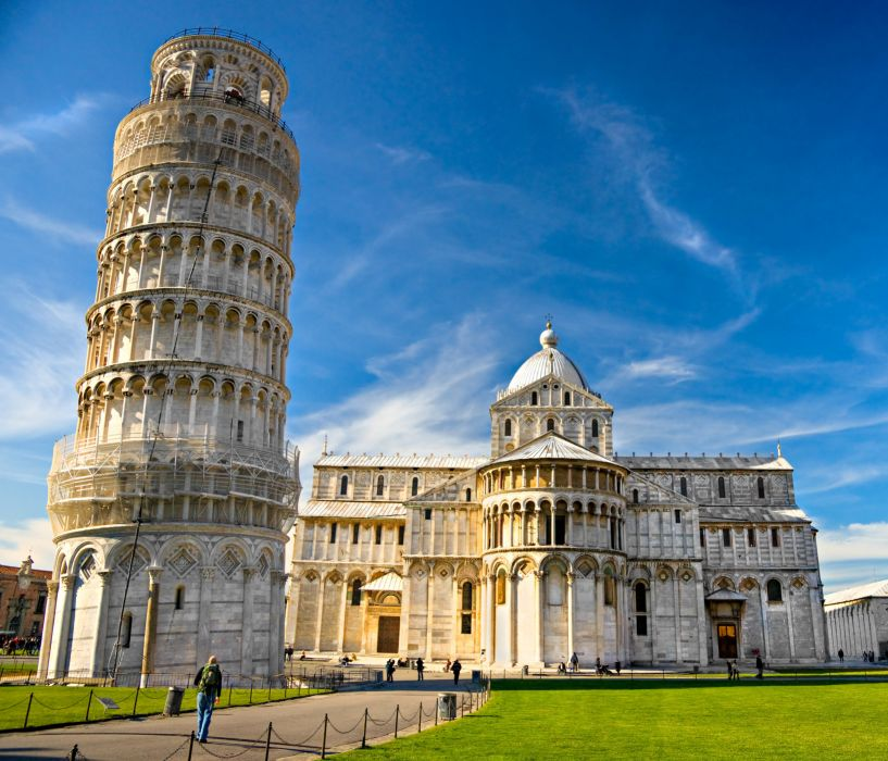 Italy Temples Sky Lawn Piazza dei Miracoli Pisa Cities wallpaper