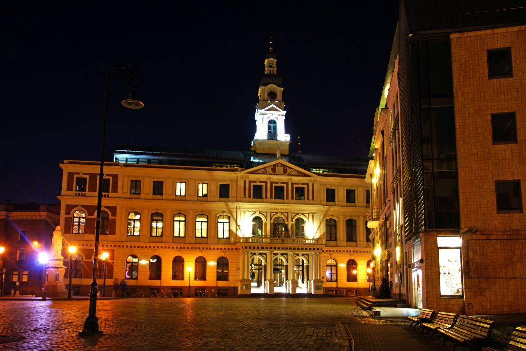Latvia Houses Night Street lights Bench Riga Cities wallpaper