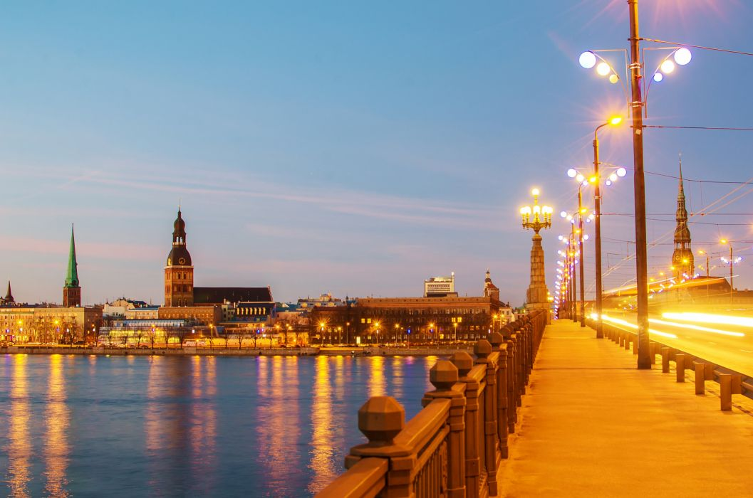 Latvia Houses Rivers Bridges Sky Night Street lights Riga Cities wallpaper