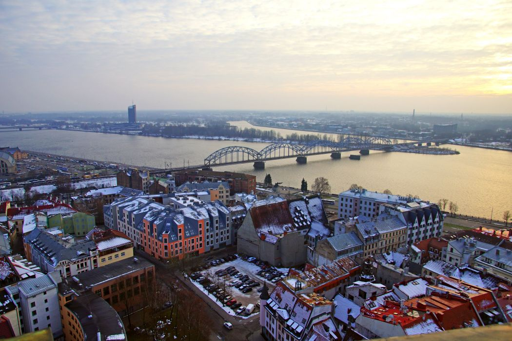 Latvia Houses Rivers Bridges Riga Cities wallpaper