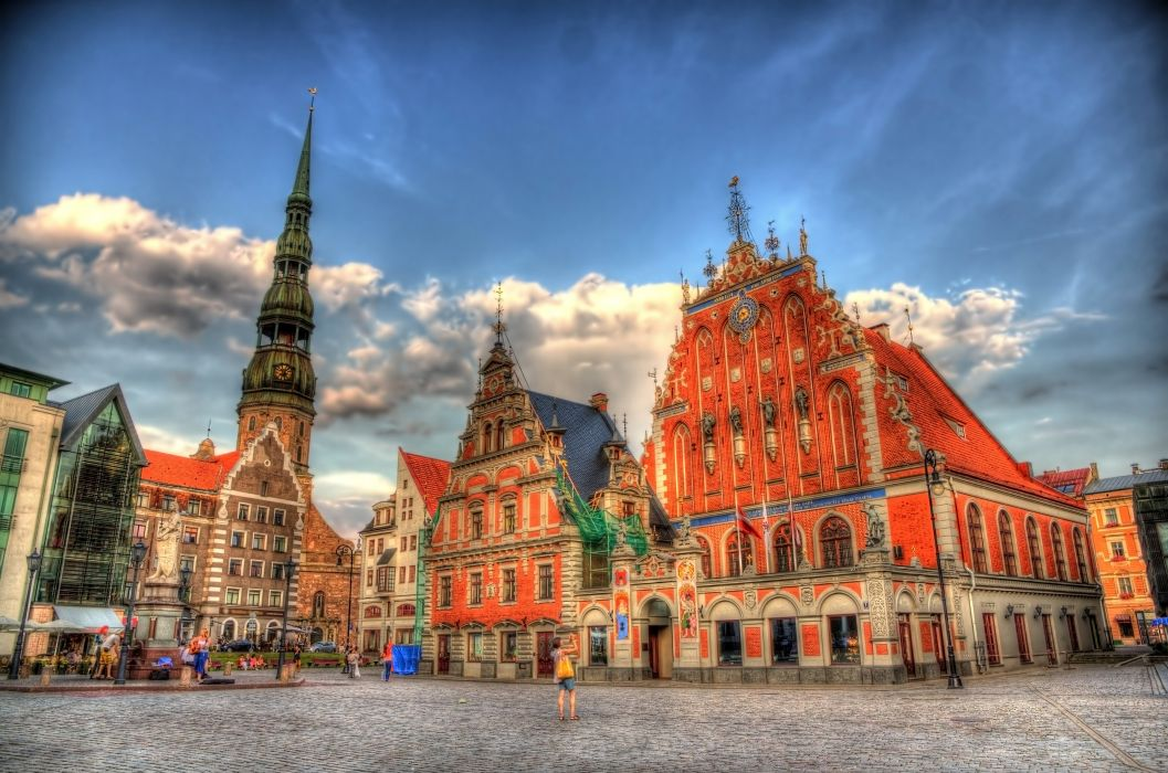 Latvia Houses Sky Street HDR Clouds Riga Cities wallpaper