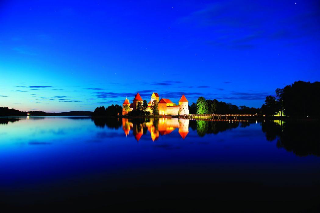Lithuania Castles Lake Sky Night Medininkai Castle Cities wallpaper