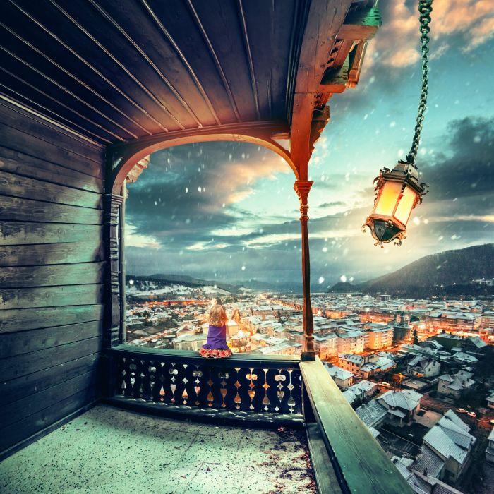 Little girls Street lights Cities Children wallpaper