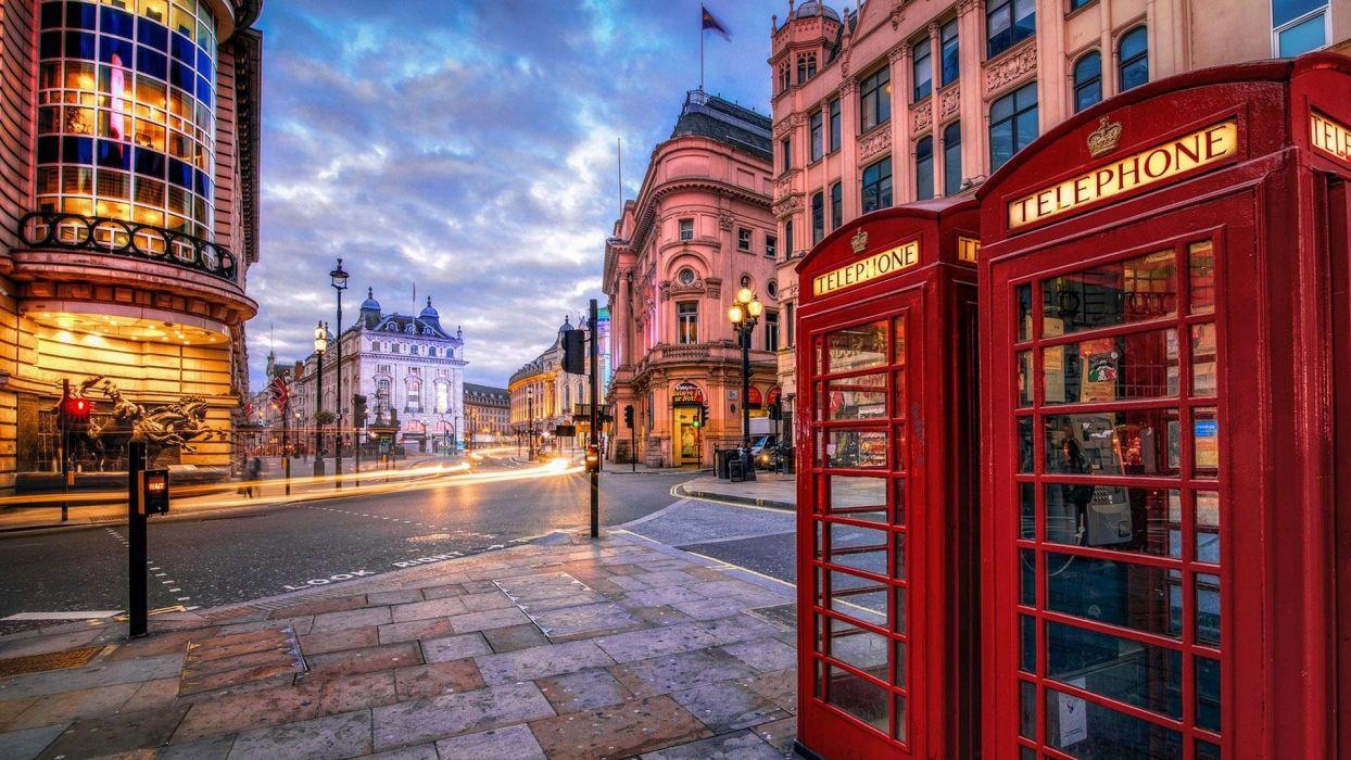 London Street Hdr Sidewalk City Phone Booths Telephone Houses wallpaper