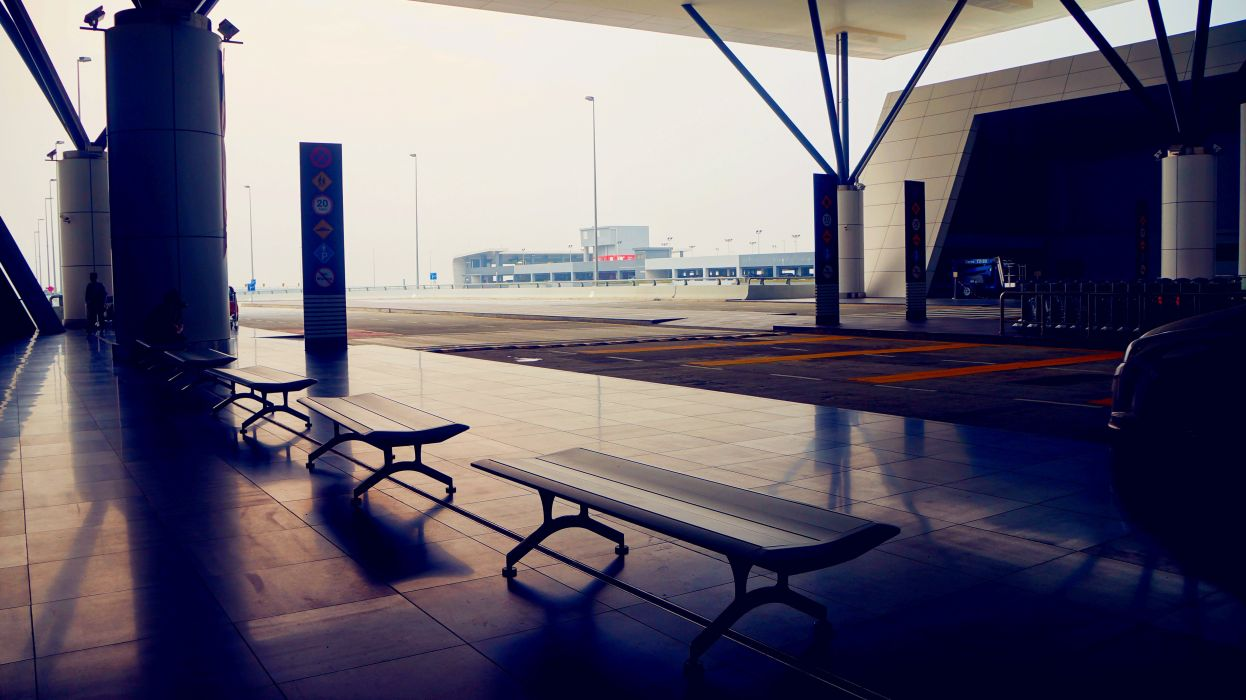 Malaysia Bench airport klia2 mood situation waiting relax Cities wallpaper