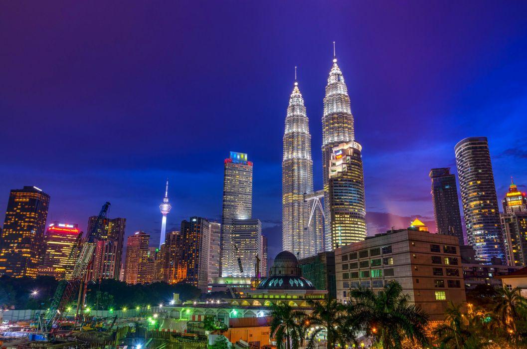 Malaysia Houses Skyscrapers Night Palma Kuala Lumpur Cities wallpaper