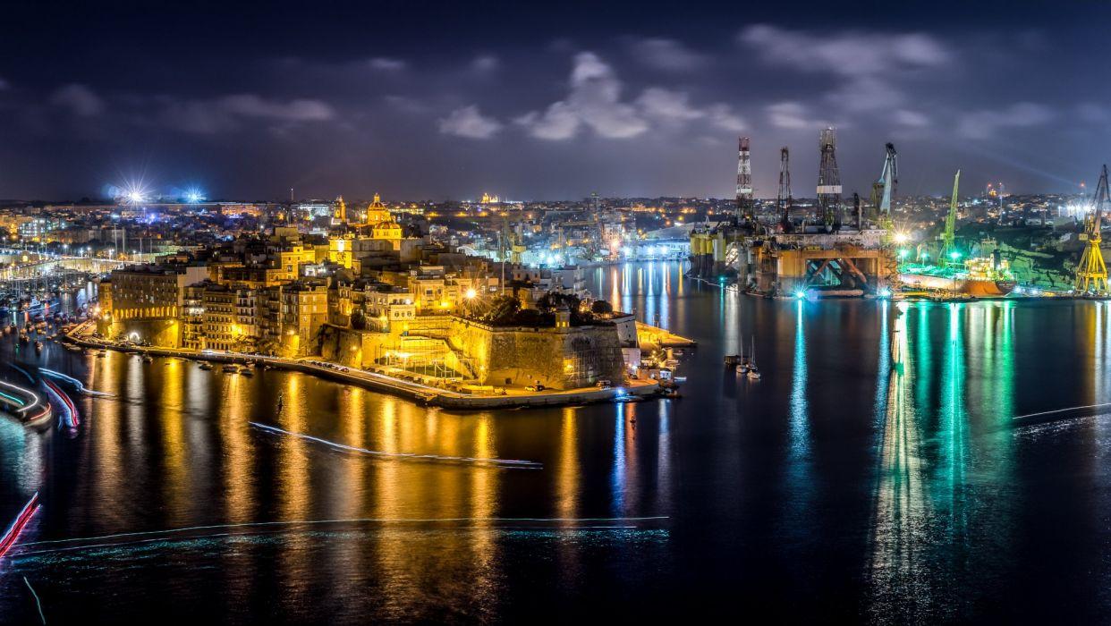 Malta Houses Rivers Marinas Night Street lights Cospicua Cities wallpaper