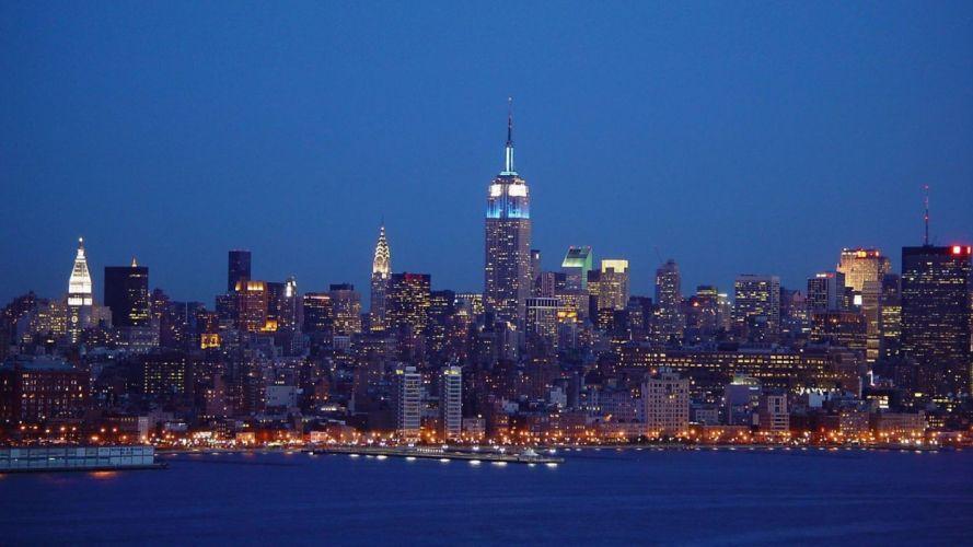 Midtown Manhattan skyline Empire State Building New York City skyscrapers wallpaper