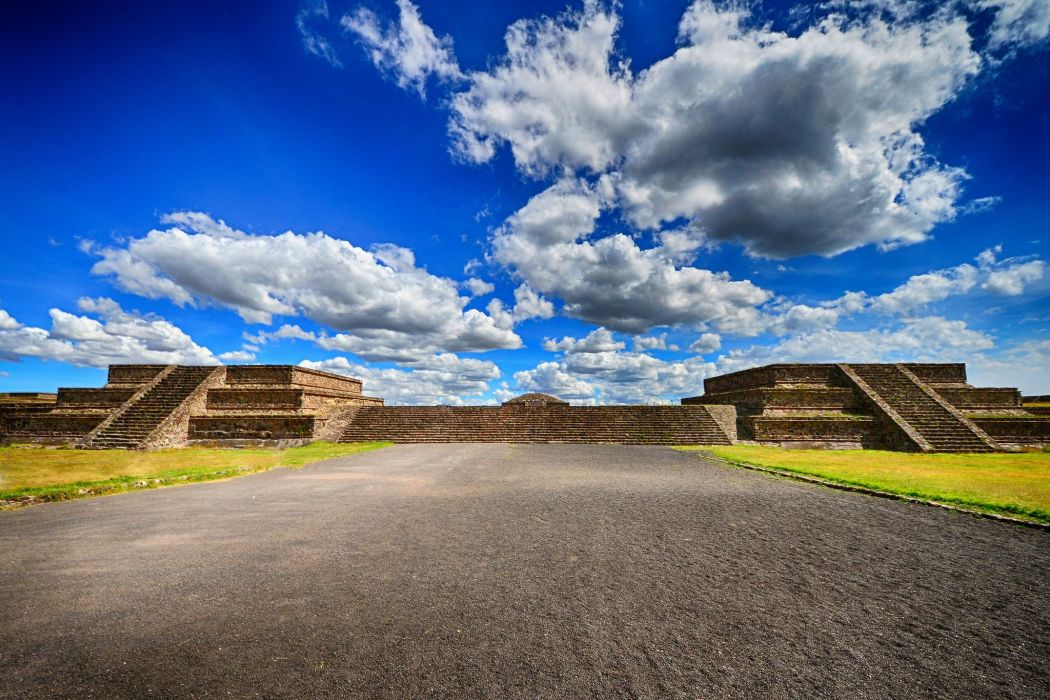 Mexico Sky Clouds Teotihuacan Cities wallpaper