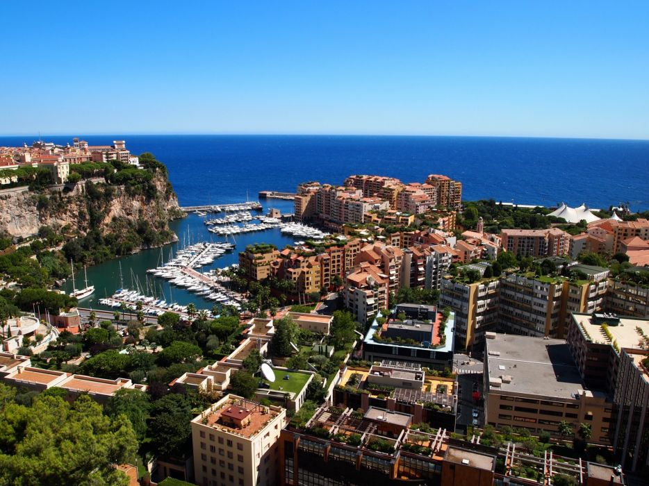 Monaco Houses Marinas Coast Monte-Carlo Cities wallpaper